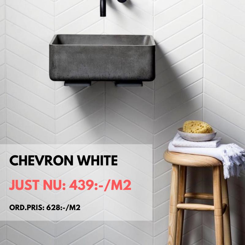 Just nu på kakel Chevron White fram till 30 april -20. Nedsatt från 628:-/m² till 439-/m².