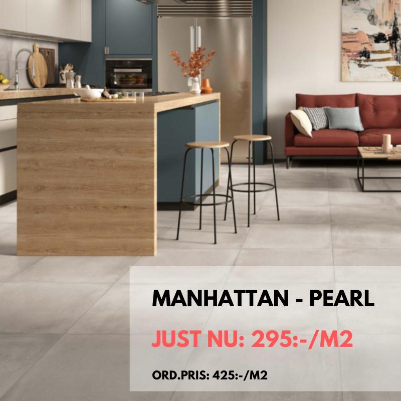 Just nu på kakel/klinker Manhattan Pearl fram till 30 april -20. Nedsatt från 425:-/m² till 295:-/m²